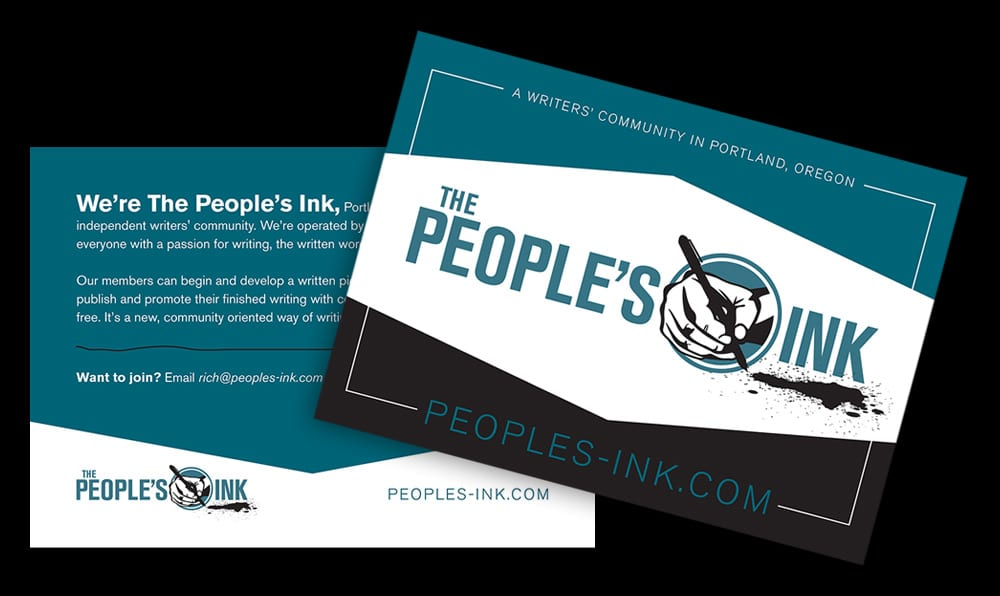 Postcard we wrote and designed advertising the writers' community