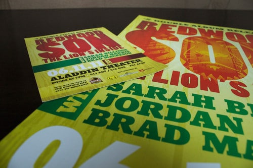 Concert Poster & Flier we designed to advertise Redwood Son's show at the Aladdin Theater