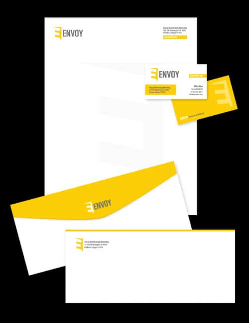 Letterhead, business cards and envelopes we designed for Envoy