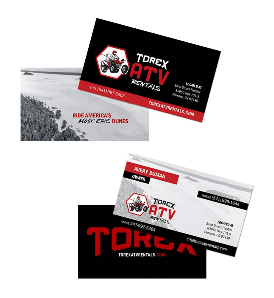 Torex atv rentals ink stained creative branding marketing torex business cards colourmoves